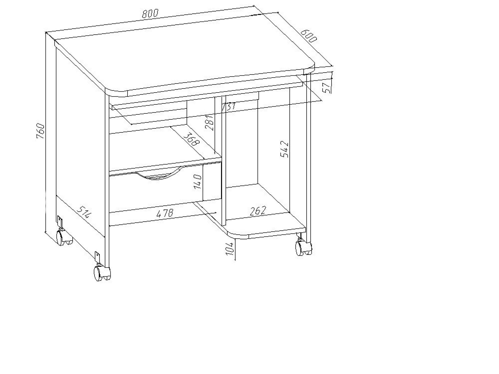 Стол компьютерный КС 20-06 Дуб сонома - 1