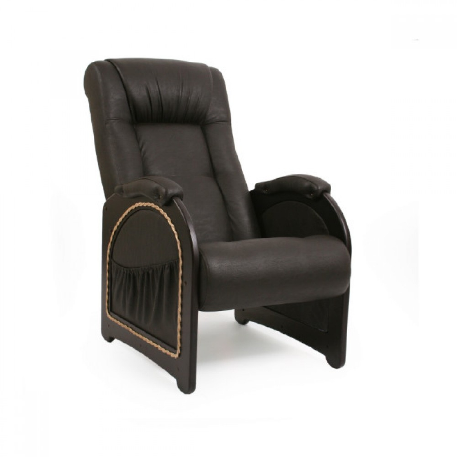 Кресло для отдыха, Модель 43 (с карманами с декоративной косичкой) Венге/Дунди 108 - 1