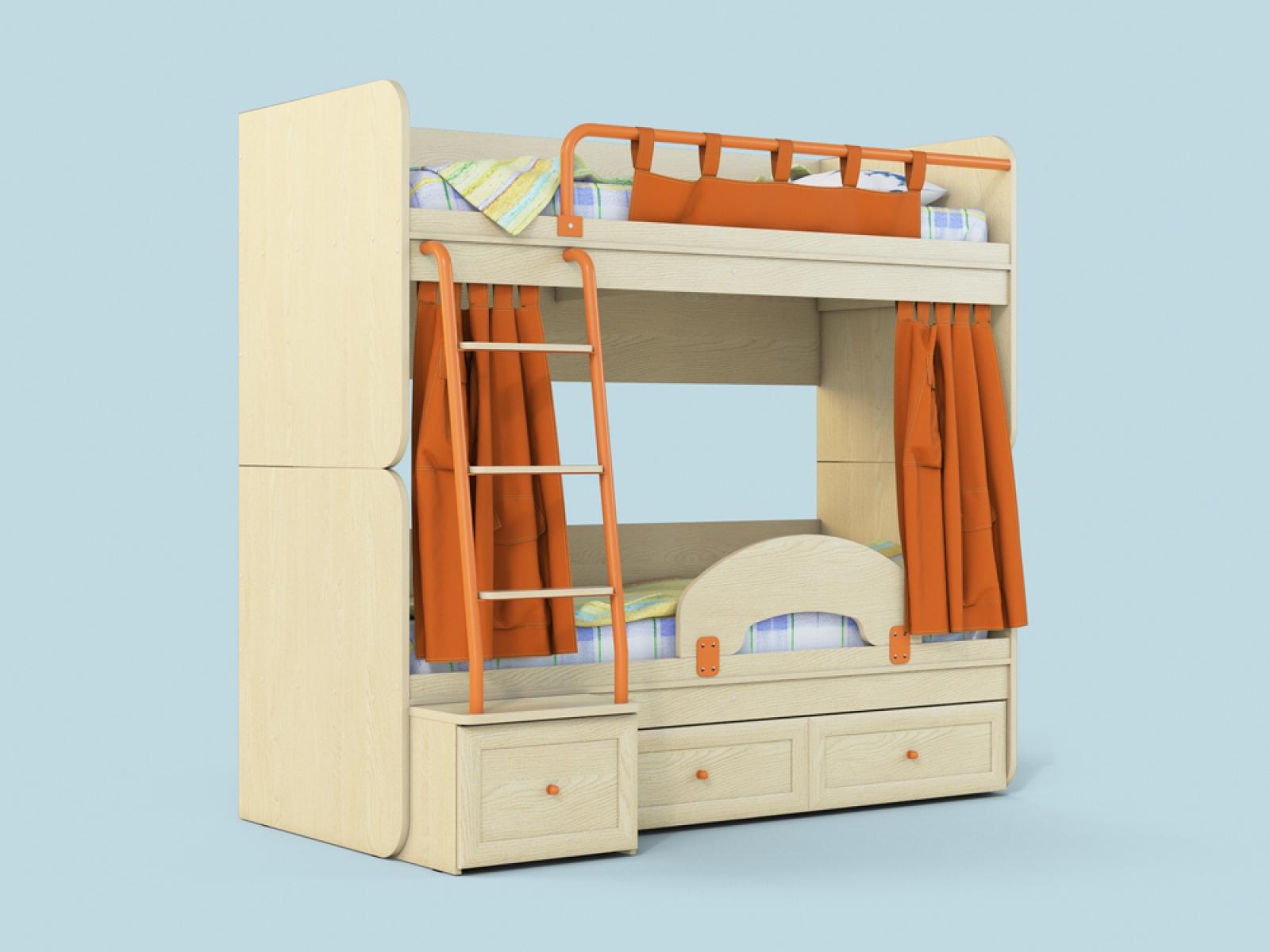 "Двухъярусная кровать ""Немо"" дуб/оранж - 1"