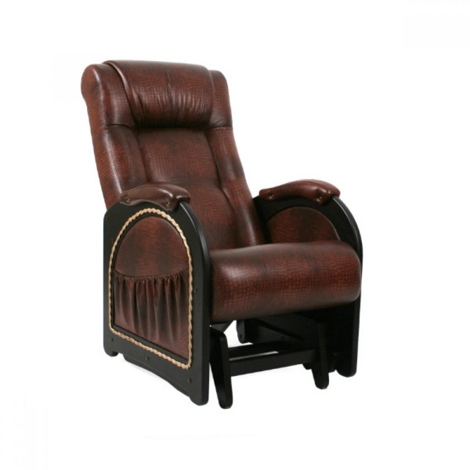 Кресло качалка Глайдер, Модель 48 (с карманами с декоративной косичкой) Венге/Антик крокодил - 1