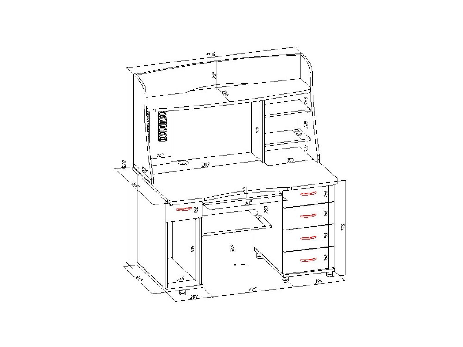 Стол компьютерный КС 20-08 Дуб сонома - 1