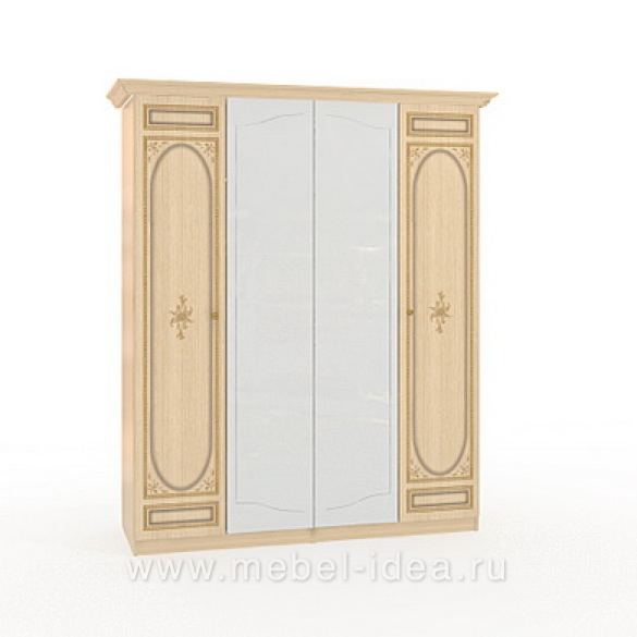 """Марта-М Беж"" Шкаф 4-дверный (2+2) с 2зерк. - 887"