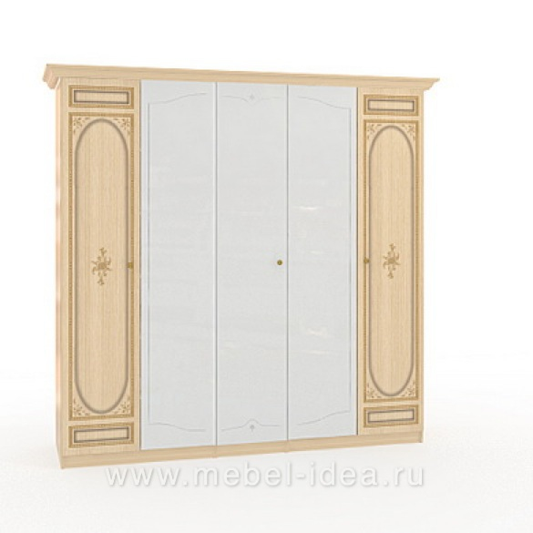 """Марта-М Беж"" Шкаф 5-дверный (2+1+2) с 3зерк. - 889"