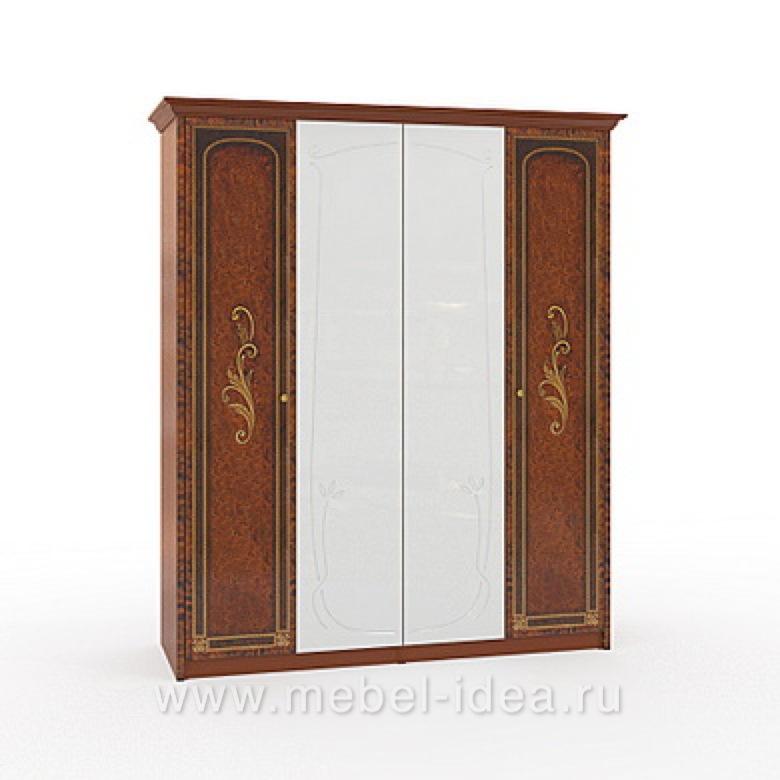 """""""Флоренция-М"""" Шкаф 4-дверный (2+2) с 2зерк. - 601"""