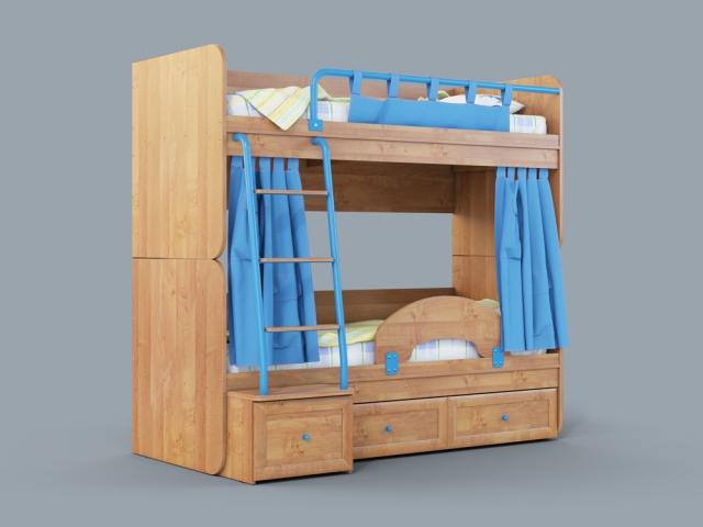 """Двухъярусная кровать """"Немо"""" ольха/синий - 4090"""